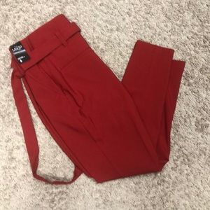 High waisted red pants